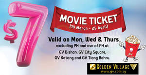 Golden Village: $7 tickets for Movie Club members at selected cinemas (Mon/Wed/Thu)! From 19 Mar – 25 Apr 2018