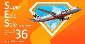 Jetstar: All-in sale fares fr $36 to over 15 destinations! Book by 25 Mar 2018