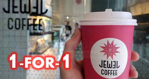 Jewel Coffee: 1-for-1 drinks at all outlets daily from 3pm till closing from 18 – 20 Jun 2018