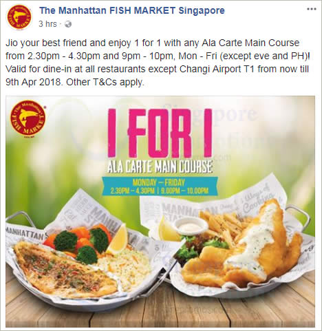 Manhattan Fish Market 1 For 1 Ala Carte Main Course On