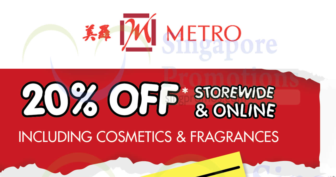 Featured image for Metro: 20% OFF storewide including cosmetics & fragrances (no membership required) from 26 - 30 Nov 2020