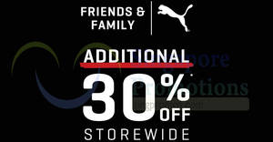 Featured image for PUMA Outlet Friends & Family sale – 30% off storewide! From 29 Mar – 1 Apr 2018