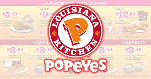 Popeyes: NEW dine-in & takeaway coupon deals valid at all outlets! Ends 23 Apr 2018