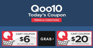 Qoo10: Grab free $6 and $20 cart coupons! From 21 – 22 Jul 2018