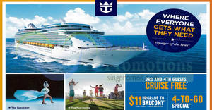 Royal Caribbean: NATAS Expo Offers – 3rd & 4th Guests Cruise FREE, $11 Balcony upgrade & more! From 23 – 25 Mar 2018