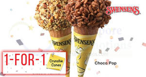 Swensen's: 1-FOR-1 Crunchie Cones (Classic Vanilla & Choco Pop) at ALL outlets! From 28 May – 1 Jun 2018