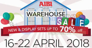 AIBI up to 70% OFF warehouse sale from 16 – 22 Apr 2018