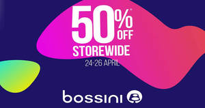 Bossini: 50% OFF massive online sale from 24 – 26 Apr 2018