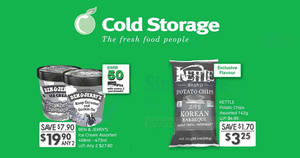 Cold Storage: Ben & Jerry's at 2-for-$19.90, Kettle Brand potato chips at $3.25 (U.P. $4.95) & more! From 20 – 22 Apr 2018