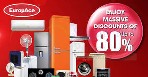 EuropAce up to 80% OFF air conditioners, appliances, washers, fridges & more warehouse sale from 13 – 16 Dec 2018