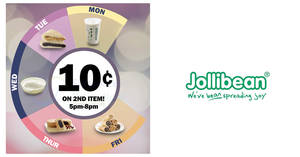 Jollibean: Pay only 10 cents for 2nd selected item on weekdays from 23 Apr 2018