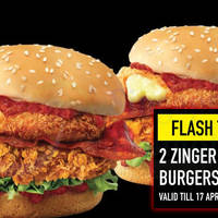 ae2c55a09be0 KFC  Flash to redeem two Zinger Mozzarella Burgers for just  9.90 ...