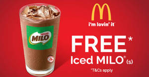 McDonald's: Free Iced Milo for NTUC Members from 26 Apr – 1 May 2018