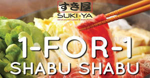 SUKI-YA is offering 1-for-1 Shabu Shabu lunch at Tampines Mall outlet till 20 June 2019