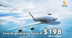 Singapore Airlines: NEW two-to-go promo fares fr $198 all-in return! Book by 15 May 2018
