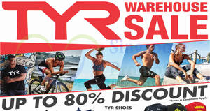 TYR up to 80% off warehouse sale is back! From 28 Apr – 1 May 2018