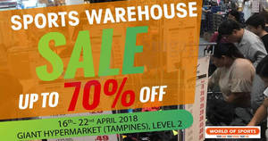 World of Sports: Up to 70% off sports warehouse sale from 16 – 22 Apr 2018