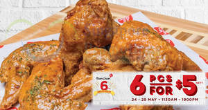 Bonchon: 6pcs wings for $5 nett at 3 outlets! From 24 – 25 May 2018