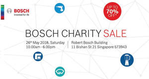 Bosch up to 70% off charity sale on 26 May 2018