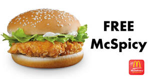 McDonald's McDelivery: Get a FREE McSpicy burger with this coupon code valid from 25 May 2018