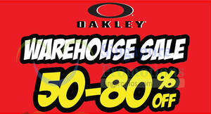 Oakley warehouse sale featuring discounts of 50% – 80% OFF! Ends 3 Jun 2018