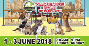 Featured image for Pets' Station's warehouse sale returns with discounts of up to 80% off! From 1 – 3 Jun 2018