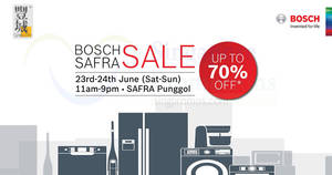 Bosch home appliances up to 70% OFF sale from 23 – 24 Jun 2018