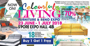 Colourful Living Furniture & Reno fair at Singapore Expo from 23 Jun – 1 Jul 2018