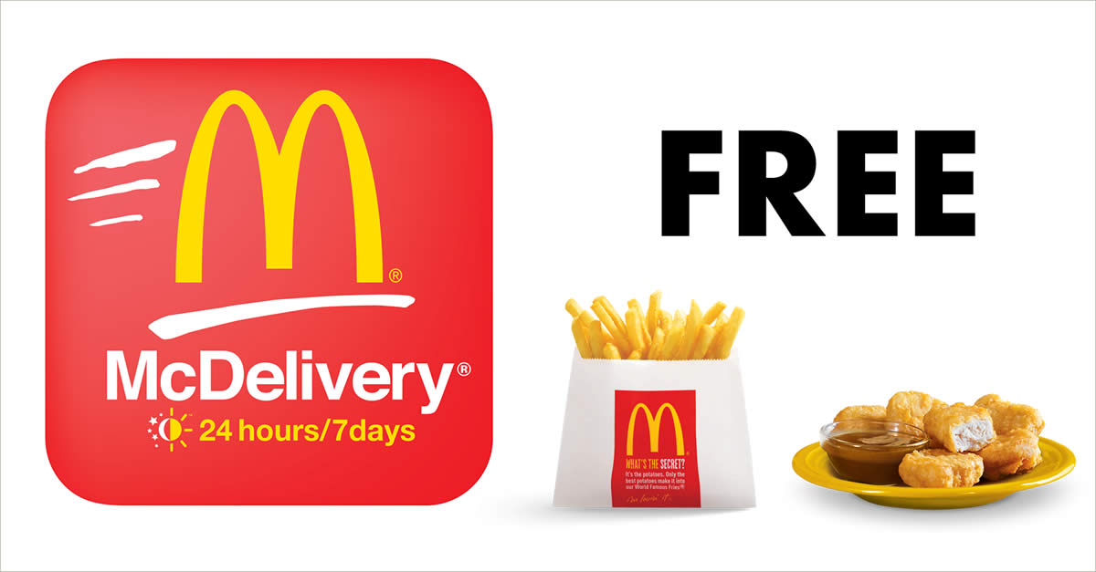 Mcdonalds Mcdelivery Get Free Large Fries Or 6pc Mcnuggets With