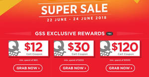 Qoo10: GSS Super Sale – grab $12, $30 & $120 cart coupons! Valid from 22 – 24 Jun 2018
