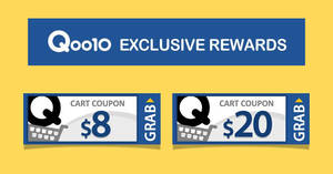 Qoo10: Grab free $8 and $20 cart coupons! From 13 – 14 Oct 2018