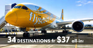 Scoot: Promo fares fr $37 to over 30 destinations one-day promo! Book on 19 Jun 2018