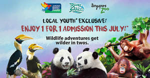 Featured image for Youths enjoy 1-for-1 admission to Jurong Bird Park, River Safari and Singapore Zoo this July!