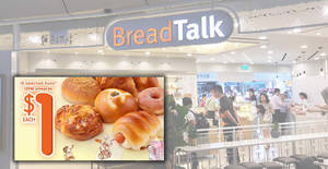 Breadtalk: $1 buns promotion on 18 selected flavours till 16 Jul 2018
