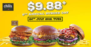 Chili's: Enjoy selected burgers for $9.88+ for one-day only! Valid on 24 Jul 2018
