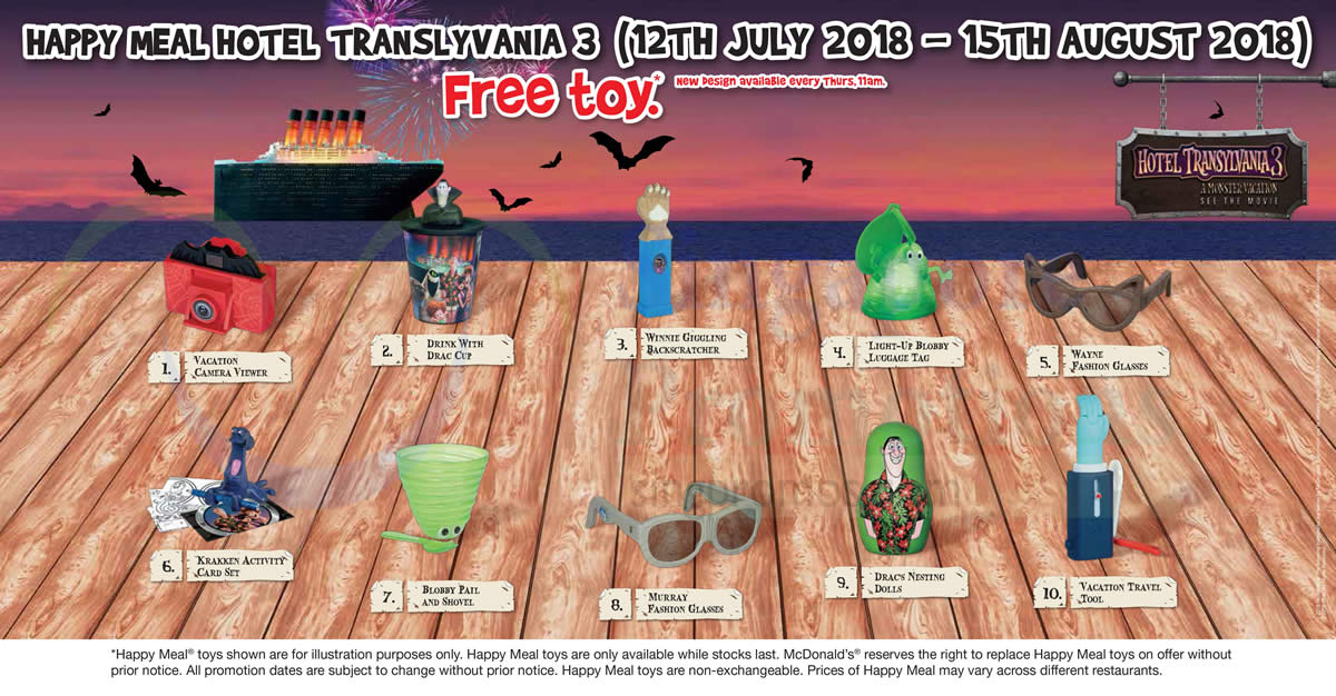 McDonalds FREE Hotel Transylvania 3 Toy With Every Happy Meal From 12 Jul 15 Aug 2018 UPDATED 16