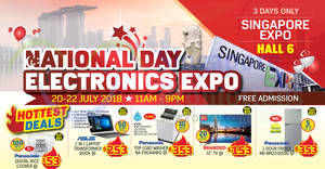 National Day Electronics Expo Sale at Singapore Expo from 20 – 22 Jul 2018