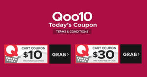 Qoo10: Grab free $10 and $30 cart coupons! From 22 – 23 Sep 2018