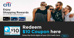 Qoo10: Citibank credit cardholders can redeem a $10 coupon till 12 Aug 2018