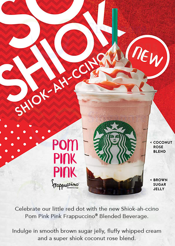 starbucks new shiok ah ccino pom pink pink frappuccino blended