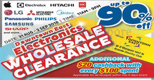 Featured image for Downtown East Electronics Wholesale Clearance Sale from 31 Aug – 2 Sep 2018