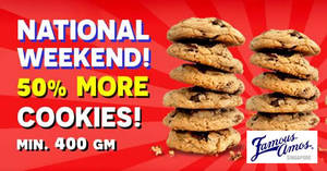 Famous Amos: Enjoy 50% more cookies with a min. purchase of 400g Cookies in Bag from 8 – 10 Aug 2020