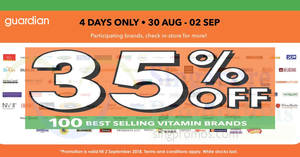 Featured image for Guardian: 35% off 100 Best Selling vitamin brands and daily deals up to 55% off till 2 Sep 2018