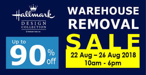 Hallmark up to 90% off warehouse removal sale from 22 – 26 Aug 2018
