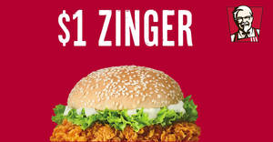 KFC Delivery: Grab a Zinger burger for just $1 (usual $5.30) when you apply this code! Valid till 30 Sep 2018