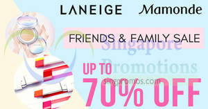 LANEIGE & Mamonde Friends & Family Sale at Singapore Expo from 17 – 19 Aug 2018