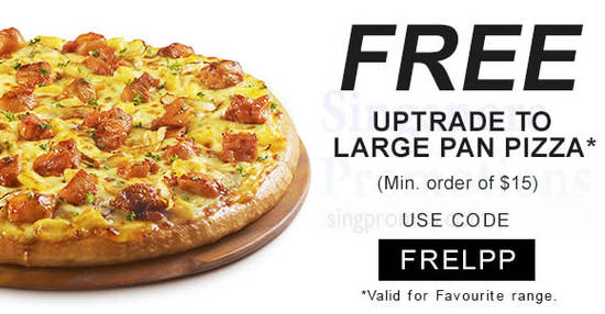 Featured image for Pizza Hut Delivery: FREE Large Pan Pizza Upsize coupon code valid from 1 Aug 2018