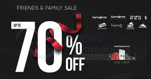 Samsonite up to 70% off Friends & Family sale from 16 – 18 Aug 2018