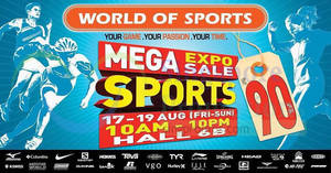 World of Sports up to 90% OFF Mega Sports Expo Sale from 17 – 19 Aug 2018