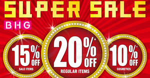 Featured image for BHG Super Sale: Save 10% to 20% OFF storewide at all stores from 31 Jan – 2 Feb 2020